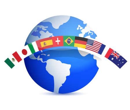 INTERNATIONAL BUSINESS: mundo con el diseño, ilustración banderas en blanco