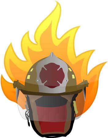 bombero de rojo: bombero casco en el diseño de la ilustración en blanco de fuego