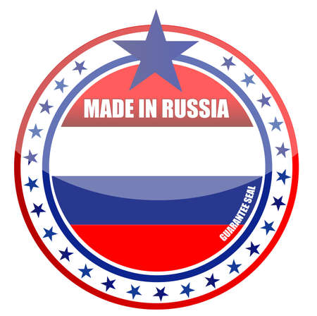 made russia: made in russia illustration design seal over white