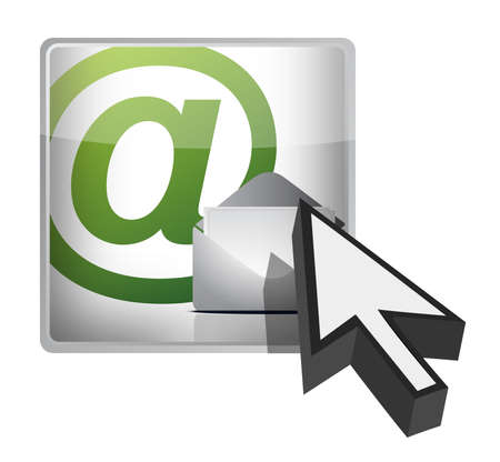e mail: mail button and cursor illustration design on white