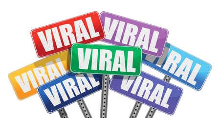 viral: Viral marketing signs concept design on white background Illustration