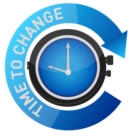 change concept: time to change concept illustration design over white
