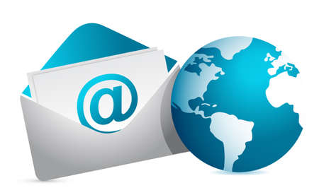 mail and globe illustration design over white background Vector