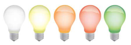 andere kleur gloeilampen illustratie ontwerp op een witte