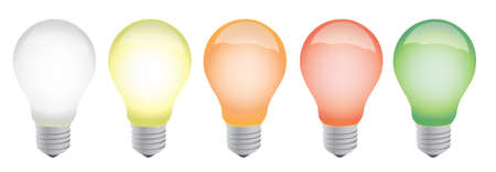 norm: different color lightbulbs illustration design over white Illustration