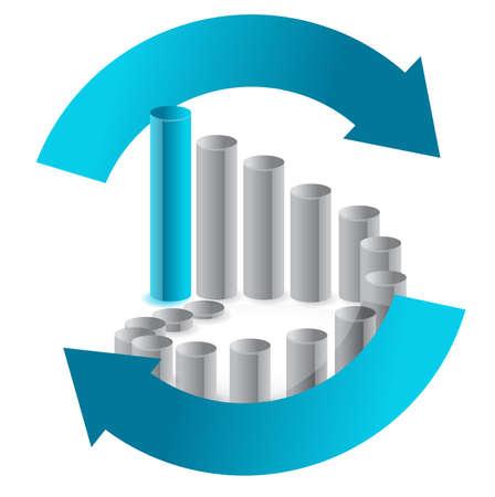 cíclico: Empresas de diseño gráfico en la ilustración de flecha ciclo en blanco