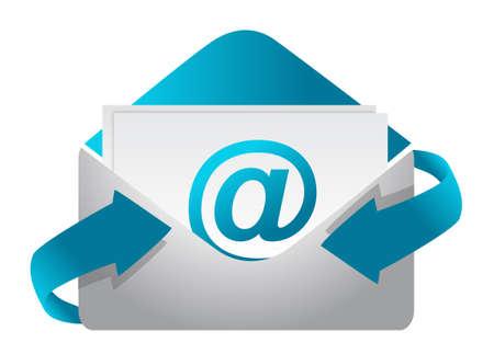 E-mail concepto de diseño, ilustración, sobre un fondo blanco