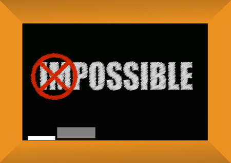 possible: impossible or possible concept blackboard design illustration