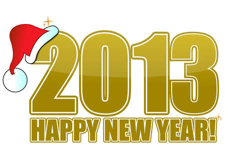 2013 happy new year golden sign with Santas hat Vector