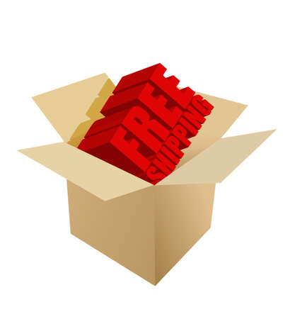carton box: free shipping Carton Box on white background Illustration