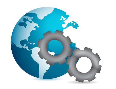 globe into gear illustration design on white background