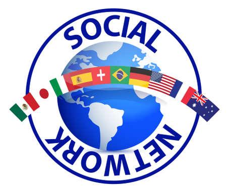 El texto de la red social en torno a la tierra de diseño ilustración mundo en blanco