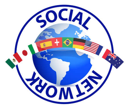 Social network text around earth globe illustration design on white