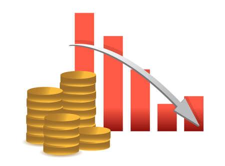 gold bar earn: losing Financial success concept- graph illustration design on white Illustration