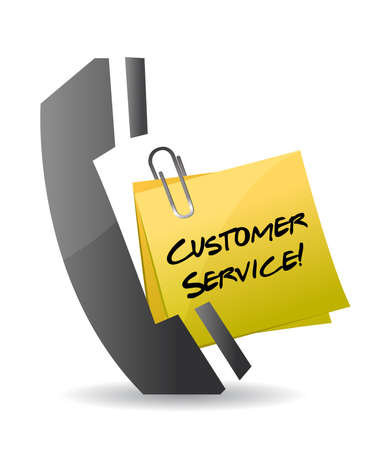 customer service phone concept illustration design on white Vector