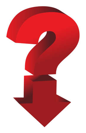 shiny red question mark with an arrow pointing down Vector