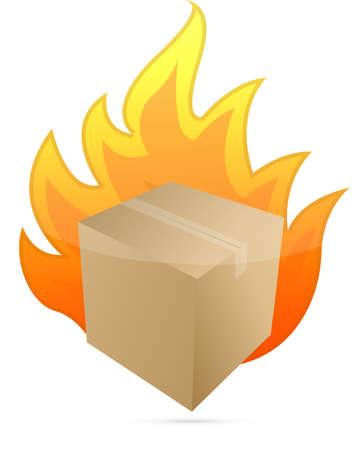box on fire illustration design on white background