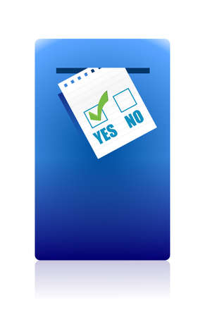 yes or no: Yes and No Checkboxes with yes selected over white background Illustration