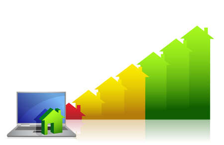 graph showing financial real estate growth and laptop Stock Vector - 12250918
