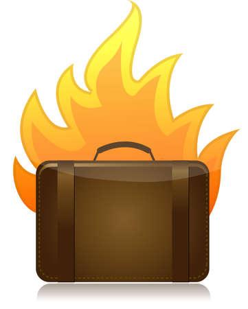 luggage bag: luggage on fire illustration design on white background
