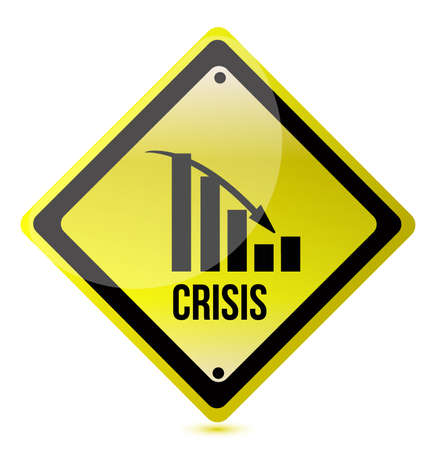 crisis ahead graph yellow traffic sign illustration design over white Stock Vector - 12250925
