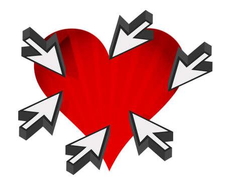 hou van het hart met de cursor pijlen rond met een witte achtergrond Stock Illustratie