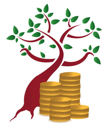 money tree and coins design  over a white background  Stock Vector - 12250921