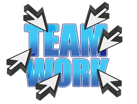 team work sign and mouse cursors over white Stock Vector - 12250924