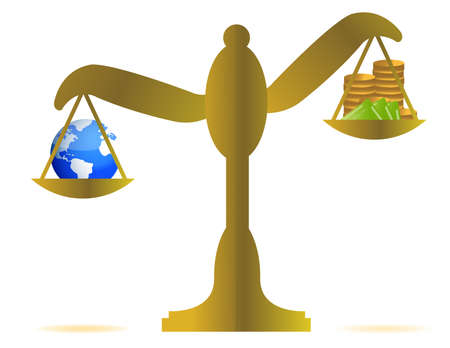 earth and money on a balance over white background