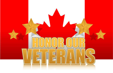 our: canada honor our veterans gold illustration sign design on white Illustration