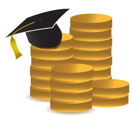 graduation hat and money illustration design over white