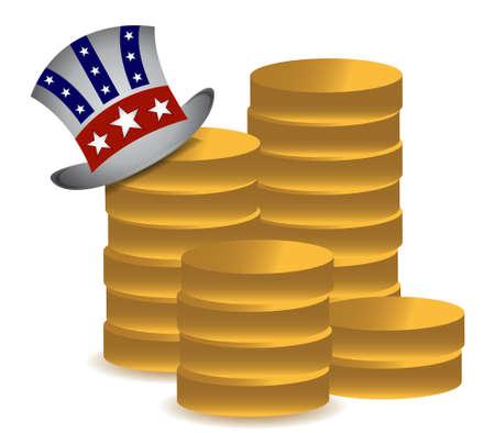 흰색 위에 엉클 샘과 동전 그림 디자인