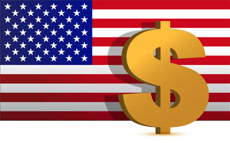 Dollar sign on us flag background - illustration design Stock Vector - 12250942