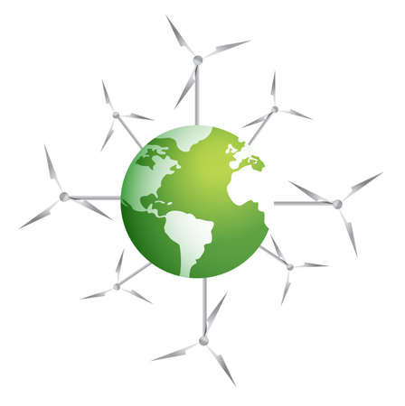 Modern windmills on a green planet illustration design on white Vectores