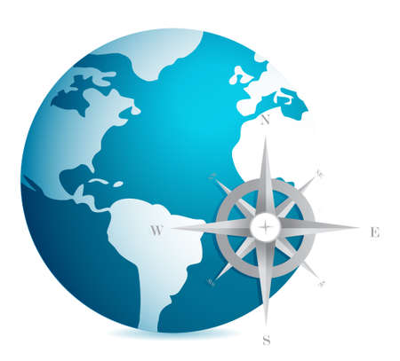 World globe illustration with compass over white background Иллюстрация