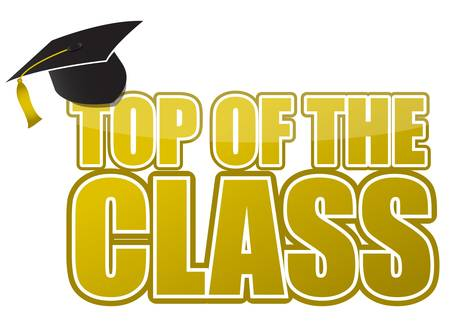 examiert: top of the class graduation cap illustration sign design