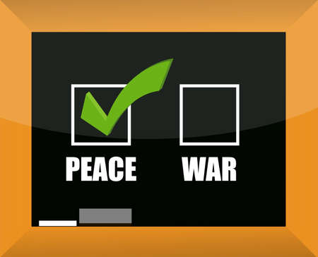 Chalk drawing - choose between peace and war illustration Stock Vector - 12250951