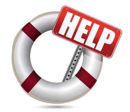 saver: Lifebuoy with red help sign over white background