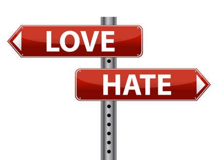 흰색 위에 딜레마 사랑과 증오 기호 그림 디자인
