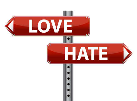 hate: Dilemma Love and Hate sign illustration design over white Illustration