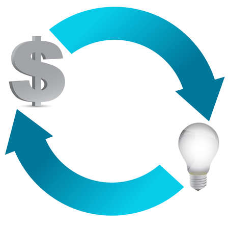 money: idea and money cycle illustration design on white Illustration