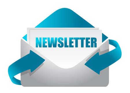 nieuwsbrief envelop illustratie ontwerp op wit illustratie