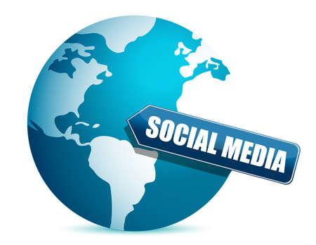 social media globe illustration design over white Çizim