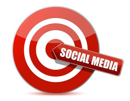 media center: target bulls eye social media illustration design on white