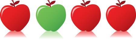 Rode appel tussen groene appels illustratie ontwerp Stock Illustratie