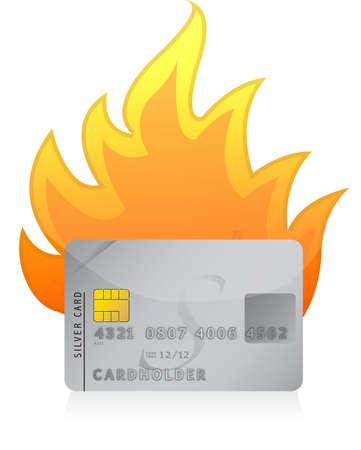 credit risk: Credit card on fire concept illustration design