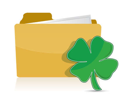 Yellow folder icon with clover illustration design over white  イラスト・ベクター素材