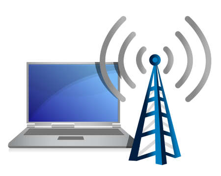 wireless: laptop with wifi tower illustration design over white