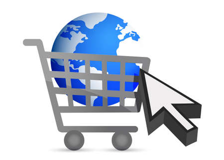 shopping cart globe and cursor illustration design  Stock Vector - 12496393