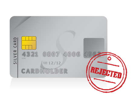 rejected: credit card rejected illustration design over white
